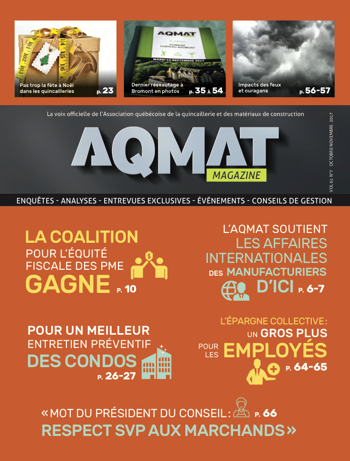 Magazine AQMAT Vol 61 No. 7 - Octobre-novembre 2017